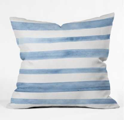BLUE WATERCOLOR STRIPES Outdoor Throw Pillow - 18 x 18  Polyester Insert - Wander Print Co.