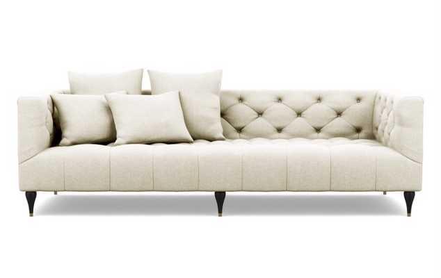 Ms. Chesterfield Sofa in Vanilla Matte Black with Brass Cap legs - Interior Define