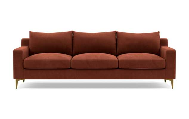 Sloan Sofa with Red Rust Fabric, standard downblend cushions, and Brass Plated legs - Interior Define