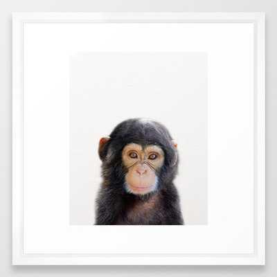 Baby Monkey, Baby Animals Art Print By Synplus Framed Art Print - Society6