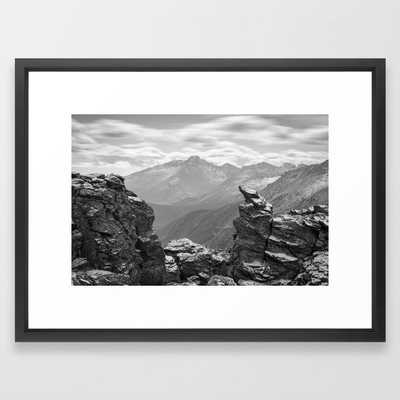 LONGS PEAK BLACK & WHITE COLORADO ROCKY MOUNTAIN NATIONAL PARK LANDSCAPE PHOTOGRAPHY Framed art print - 20x26 - vector black - Society6