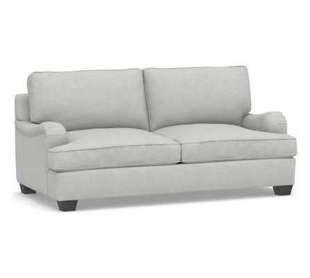 "PB English Arm Upholstered Sofa 80.5"", Box Edge Down Blend Wrapped Cushions, Basketweave Slub Ash - Pottery Barn"