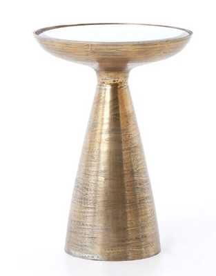 Marlow Mod Pedestal Table, Brushed Brass - Burke Decor