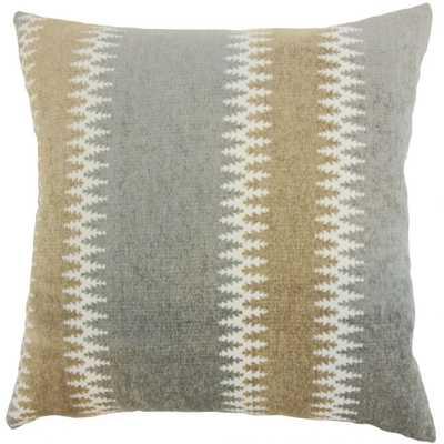 "Eben Stripes Pillow Granite - 20"" x 20"" - Poly Insert - Linen & Seam"