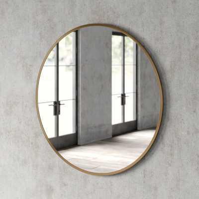 """32"""" x 32"""" Brass Needville Modern & Contemporary Accent Mirror - Wayfair"""