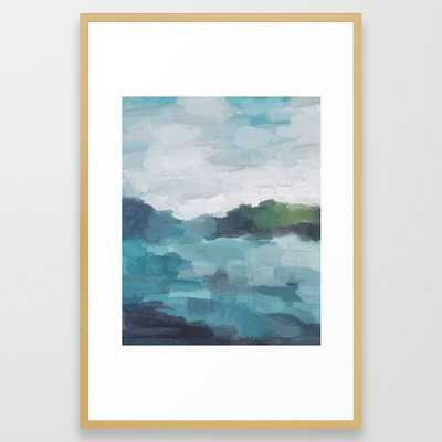 """Aqua Blue Green Abstract Art Painting Framed Art Print- FRAME Conservation Natural- SIZE Large (gallery) - 26"""" X 38"""" - Society6"""