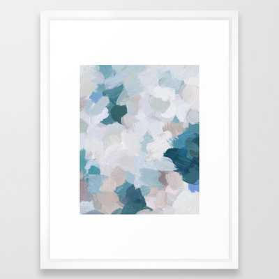 Turquoise Navy Blue Blush Pink Gray White Abstract Painting, Modern Wall Art, Digital Print Framed Art Print - Society6
