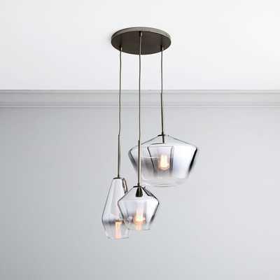Sculptural Glass 3 Light Round Geo Chandelier, S-M-L Geo, Silver Ombre, Shade, Bronze Canopy - West Elm