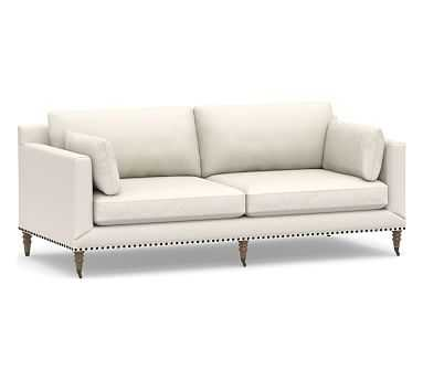 """Tallulah Upholstered Sofa 84"""", Down Blend Wrapped Cushions, Performance Heathered Tweed Ivory - Pottery Barn"""