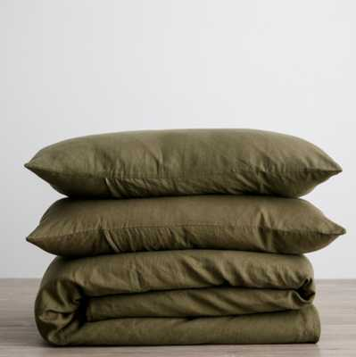CULTIVER LINEN BEDDING, Olive Duvet - Lulu and Georgia