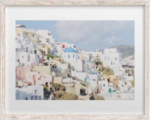 """Greek Paradise - Whitewashed Herringbone Wood Frame - 18"""" x 24"""" - Minted"""