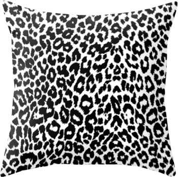 Leopard Pattern (Black and White) Throw Pillow - Society6