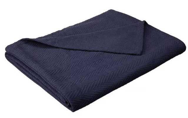 eLuxury Metro Weave Cotton Blanket, navy blue, king - Target