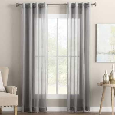 "Wayfair Basics Solid Sheer Grommet Single Curtain Panel White 95"" L - Wayfair"