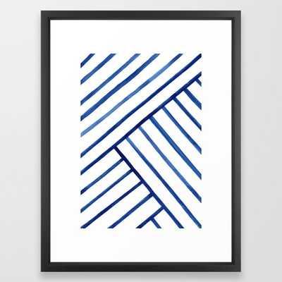 Watercolor lines pattern | Navy blue Framed Art Print - Society6