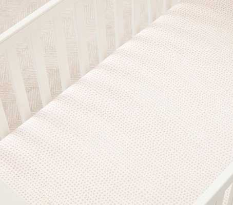 Organic Blush Falling Dot Crib Fitted Sheet - Pottery Barn Kids