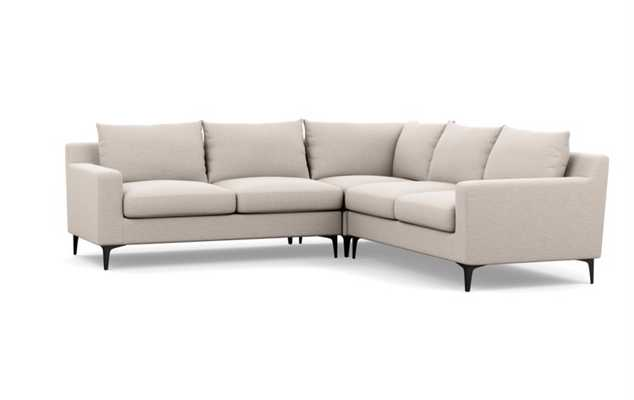Sloan Corner Sectional in Natural Fabric with Matte Black Legs - Interior Define