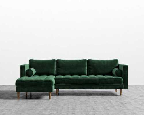 Luca Sectional - Moss Green - Brown Legs - Right Hand - Rove Concepts