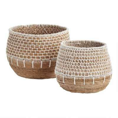Natural Banana Leaf Harper Basket With White Macrame- Large - World Market/Cost Plus