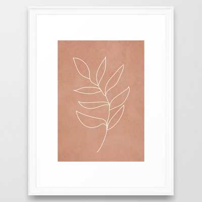 Engraved Leaf Line Framed Art Print - Society6