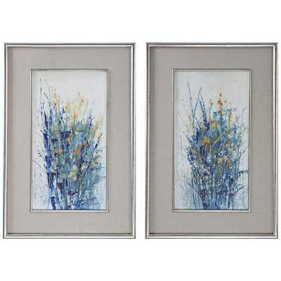 "Hudsonhill Foundry Indigo Florals 41 1/2""H Framed Wall Art Set of 2 - Hudsonhill Foundry"
