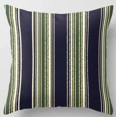 Navy blue and sage green stripes Throw Pillow - Indoor - 20x20 with insert - Society6