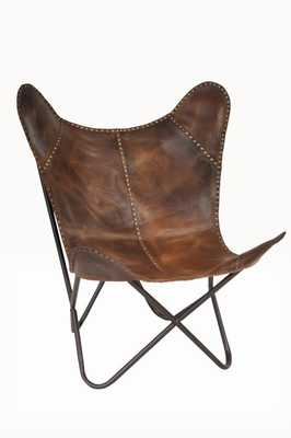 Safari Leather Riveted Butterfly Lounge Chair - Wayfair