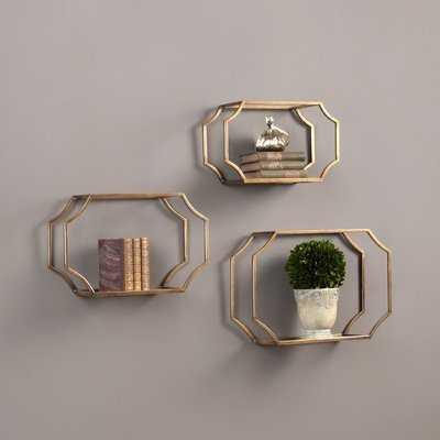 3 Piece Wall Glass Shelf Set - Wayfair