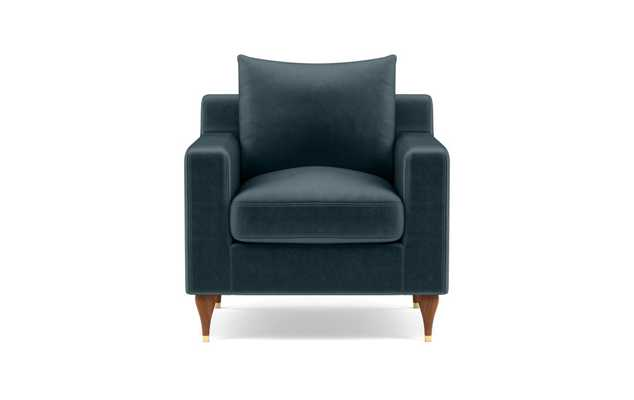 Sloan Petite Chair with Blue Sapphire Fabric and Oiled Walnut with Brass Cap legs - Interior Define