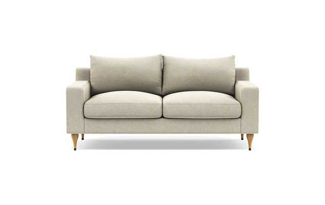 Sloan Loveseats with Beige Flax Fabric, down alternative cushions, and Natural Oak with Antique Cap legs - Interior Define
