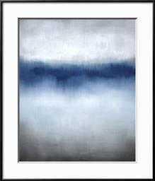 "Linear Blue Horizon- 24"" x 32"" Giclee Print - Ronda Black 0.38"" Frame  -Crisp - Bright White 3"" Mat - art.com"