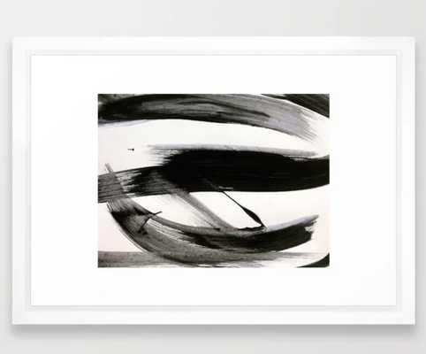 Brushstroke 9: a bold, minimal, black and white abstract piece Framed Art Print - Society6