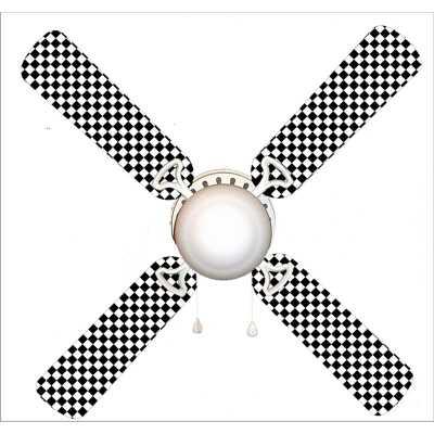 "42"" Grassingt Checkered Flag Race Car 4 Blade Ceiling Fan, Light Kit Included - Wayfair"