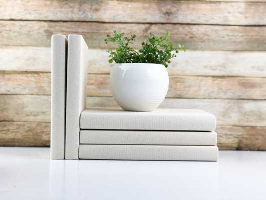 Set of 3 Decorative Books- Solid Cream - Havenly Essentials