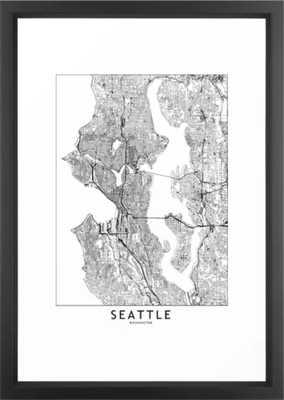 """Seattle White Map Framed Art Print - 15"""" X 21"""" - Society6"""