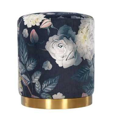 Thea Floral Velvet Ottoman – Lilly Base - Maren Home