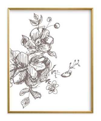 "Botanical Sketch 3 - 16"" x 20"" - Gilded Wood Frame - Standard Full Bleed - Minted"