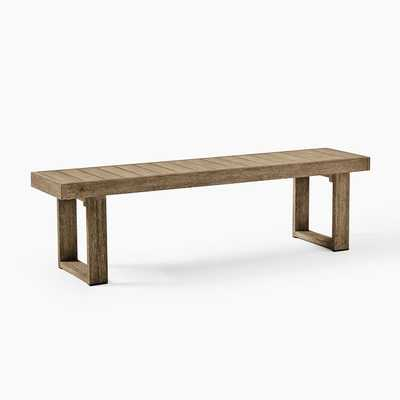 "Portside Outdoor Dining Bench, 66"", Driftwood - West Elm"