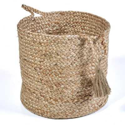"Natural Jute Decorative Storage Basket, Browns/Tans - 17""h - Home Depot"
