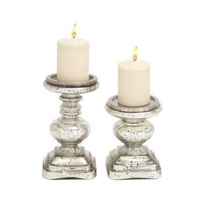 2 Piece Glass Candlestick Set - Birch Lane