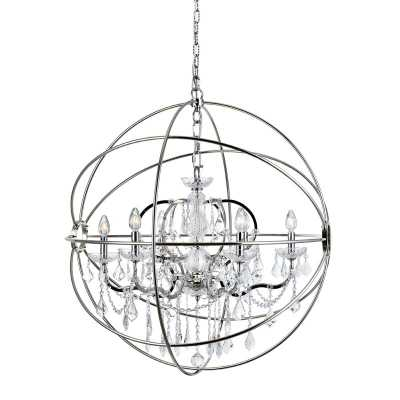Svante 6 - Light Candle Style Globe Chandelier with Crystal Accents - Wayfair