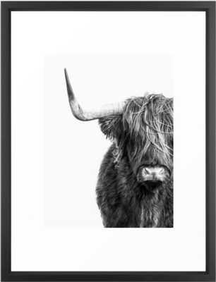 Highland Cow Portrait - Black and White Framed Art Print - Society6