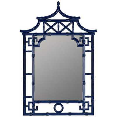 "Pinlo Cobalt Blue 28 1/4"" x 42"" Pagoda Wall Mirror - Style # 1G204 - Lamps Plus"