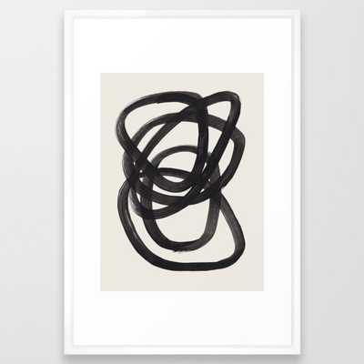 Mid Century Modern Minimalist Abstract Art Brush Strokes Black & White Ink Art Spiral Circles Framed Art Print - Society6