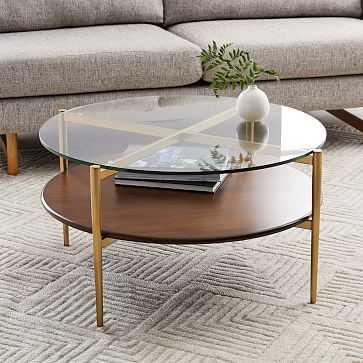 Art Display Coffee Table, Glass, Walnut, Antique Brass - West Elm