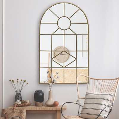 Gold Rounded Arch Windowpane Mirror - Home Depot