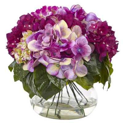 Mixed Hydrangea w/Vase - Fiddle + Bloom