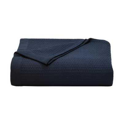 Baird Navy (Blue) Cotton Full/Queen Blanket - Home Depot