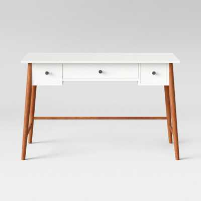 Amherst Mid Century Modern Three Drawer Writing Desk White/Brown - Project 62 - Target