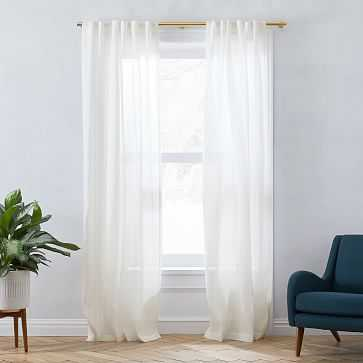 "Sheer Belgian Flax Linen Curtain, 48""x84"", Alabaster, Set of 2 - West Elm"
